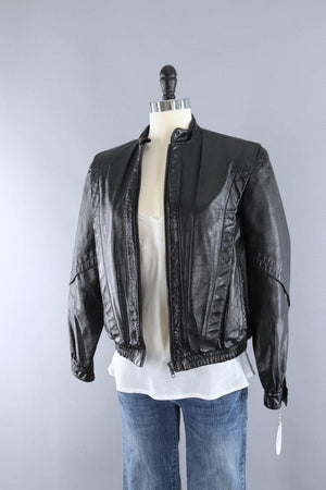 Vintage 1980s Black Leather Jacket with Sherpa Lining-ThisBlueBird - Modern Vintage