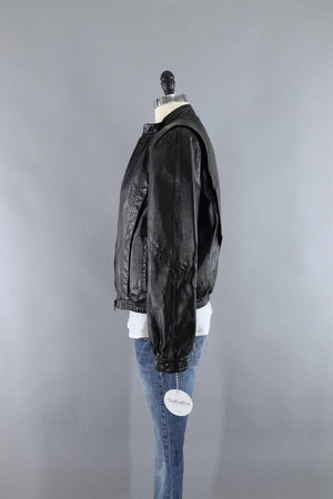 Vintage 1980s Black Leather Jacket with Sherpa Lining - ThisBlueBird