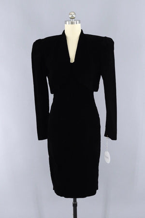 Vintage 1980s Black Velvet Strapless Dress and Jacket Set - ThisBlueBird