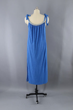 Vintage 1980s Blue Rainbow Terry Cloth Dress-ThisBlueBird - Modern Vintage