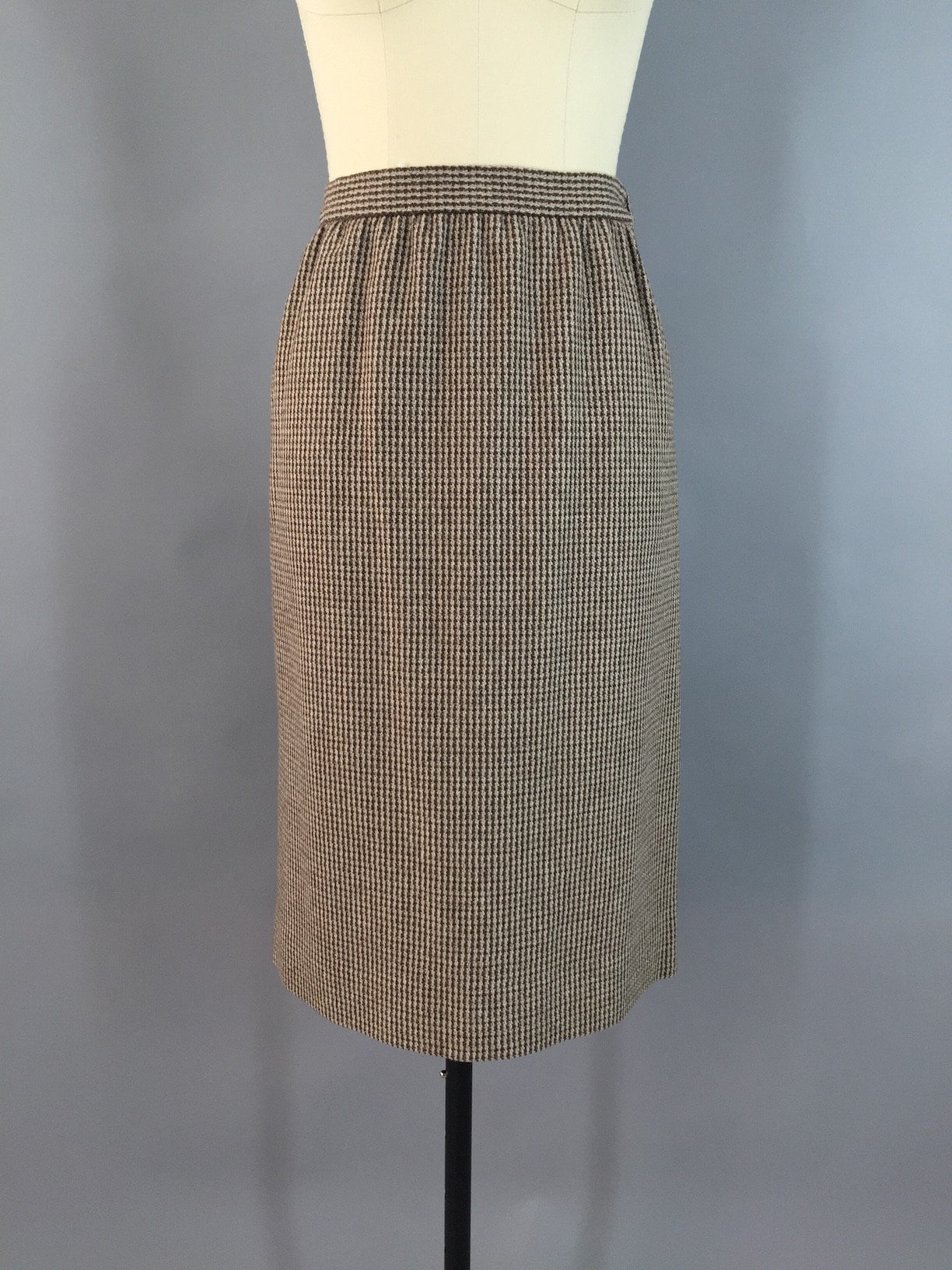 Vintage 1980s Brown Wool Tweed Pencil Skirt Bottoms ThisBlueBird - Sale