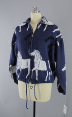 Vintage 1980s Cardigan Sweater / Southwestern Horses Tejidos Tops ThisBlueBird