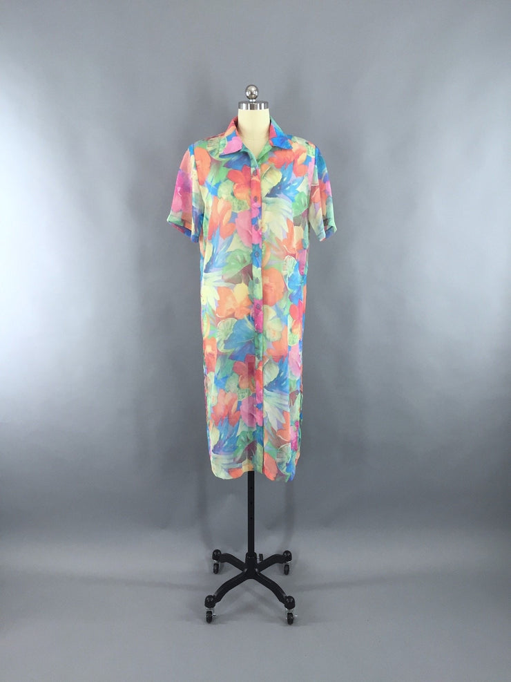 Vintage 1980s Chiffon Dress / Sheer Tunic Shirt Dress Dress ThisBlueBird - Sale