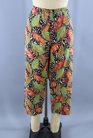 Vintage 1980s Cotton Linen Capri Pants / Tropical Leaf Print Bottoms ThisBlueBird - Sale