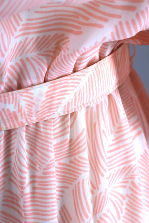 Vintage 1980s Day Dress / Peach Pink Palm Leaves Print Dress ThisBlueBird