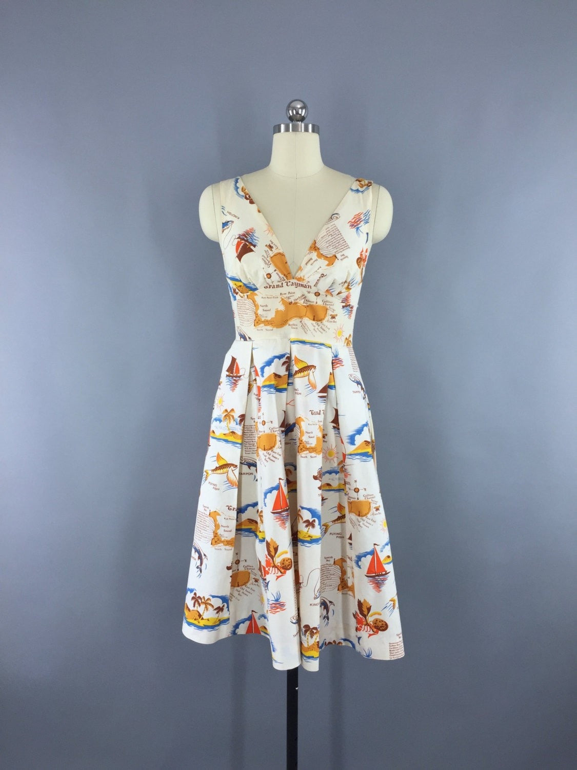 Vintage 1980s Dress / Cayman Islands Novelty Print Sundress Dress ThisBlueBird