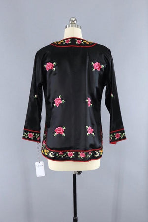 Vintage 1980s Embroidered Chinese Satin Jacket Outerwear ThisBlueBird
