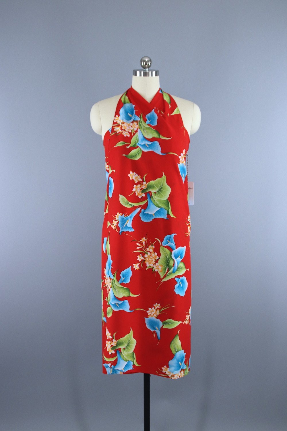 2e1f3b01 Vintage 1980s Hawaiian Hilo Hattie Red Floral Print Sarong Wrap Dress -  ThisBlueBird