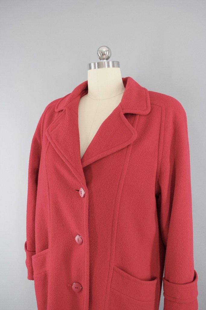 Vintage 1980s Herman Kay Cherry Red Wool Car Coat - ThisBlueBird ...