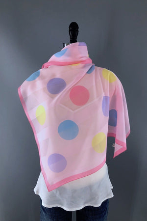 Vintage 1980s Pastel Pink Polka Dots Chiffon Scarf-ThisBlueBird - Modern Vintage