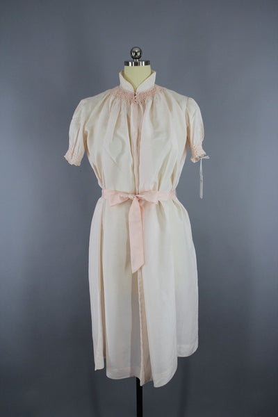 Vintage 1980s Pastel Pink Silk Nightgown Maternity Gown