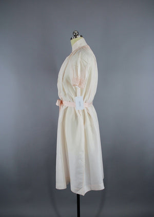 Vintage 1980s Pastel Pink Silk Nightgown Maternity Gown - ThisBlueBird