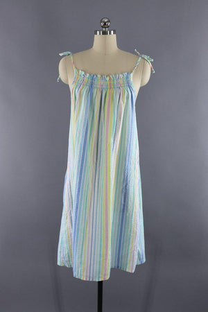 Vintage 1980s Pastel Rainbow Striped Nightgown Dress - ThisBlueBird