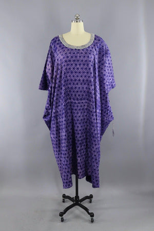 Vintage 1980s Purple Cotton Caftan Dress with White Embroidery - ThisBlueBird