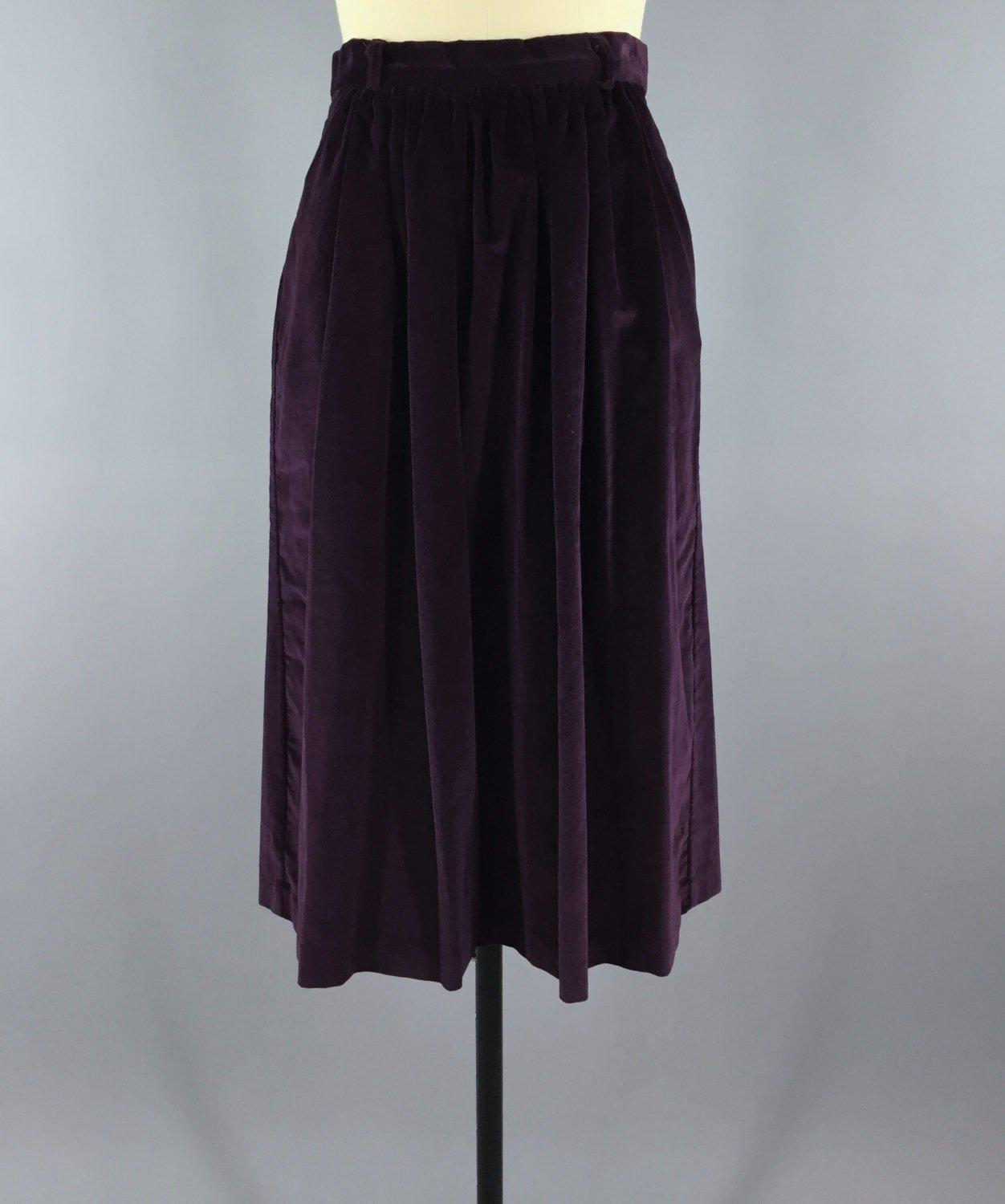 Vintage 1980s Purple Velvet Pencil Skirt Bottoms ThisBlueBird - Sale