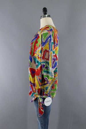 Vintage 1980s Rainbow Abstract Print Blouse-ThisBlueBird - Modern Vintage