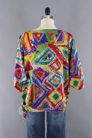 Vintage 1980s Rainbow Abstract Print Blouse - ThisBlueBird