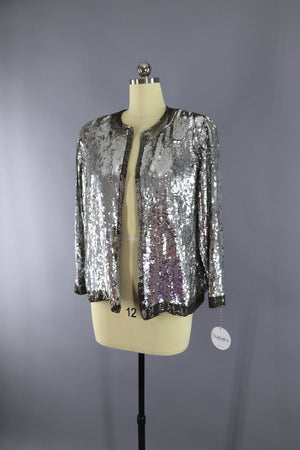Vintage 1980s Silver Sequined Silk Jacket - ThisBlueBird