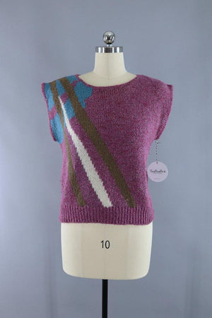Vintage 1980s Sleeveless Sweater / Purple Abstract - ThisBlueBird