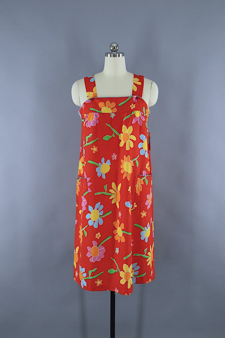 Vintage 1980s Sundress / Red Floral Print Dress ThisBlueBird
