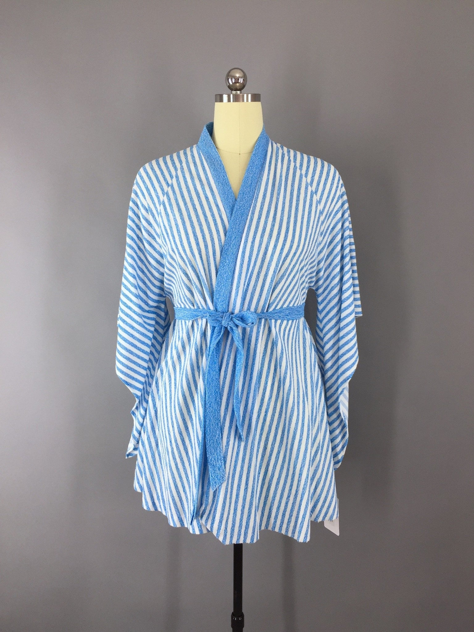 Vintage 1980s Terry Robe with French Blue Stripes Lingerie ThisBlueBird