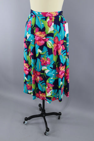 Vintage 1980s Tropical Hawaiian Print Skirt / Orchid Floral - ThisBlueBird