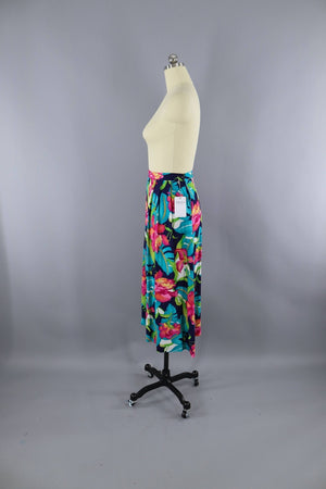 Vintage 1980s Tropical Hawaiian Print Skirt / Orchid Floral Bottoms ThisBlueBird