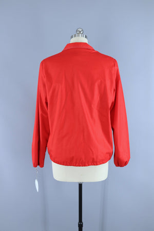 Vintage 1980s Weather Tamer Jacket Windbreaker / Bright Red Outerwear ThisBlueBird