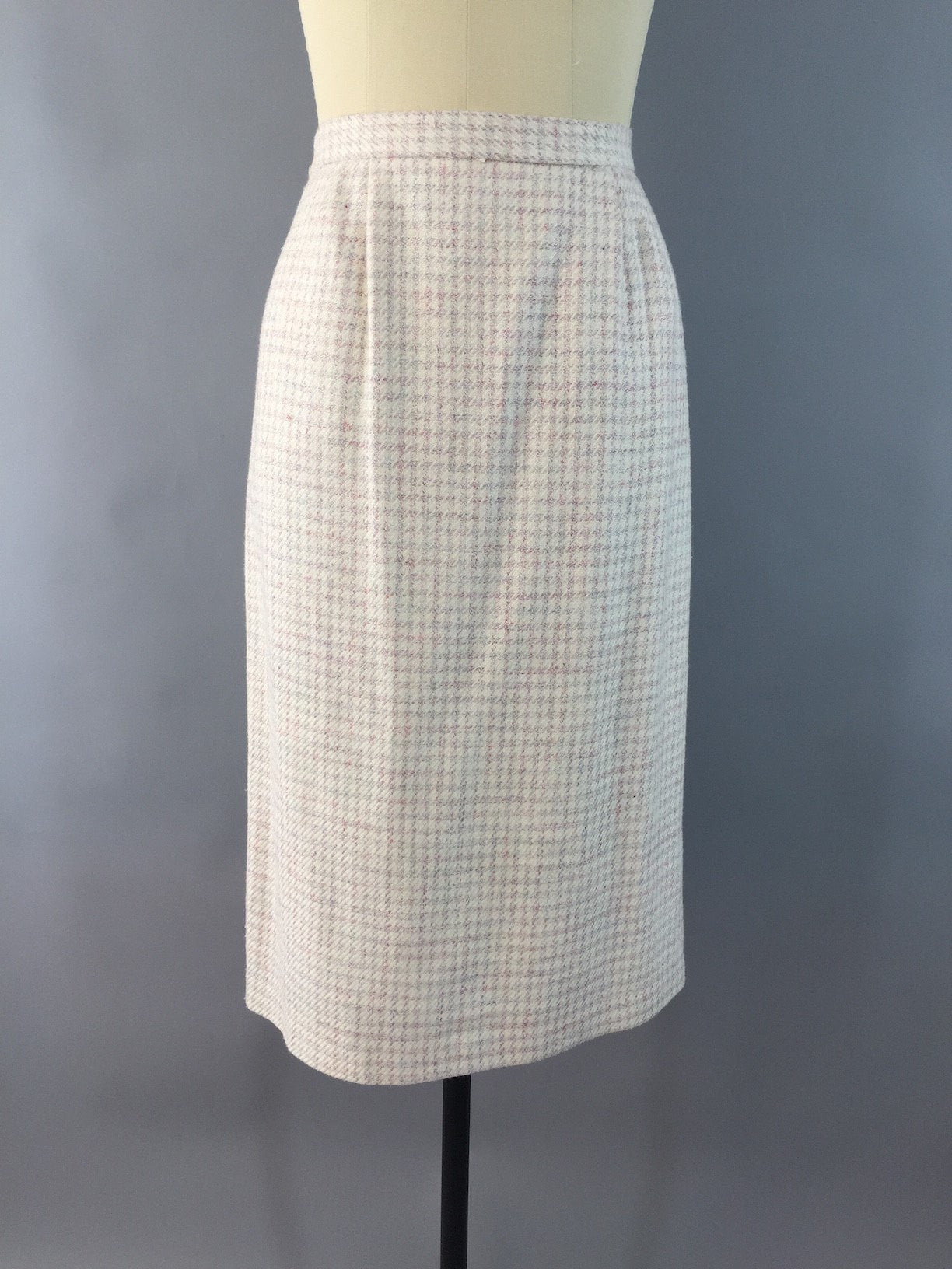 Vintage 1980s  Winter White Houndstooth Wool Pencil Skirt Bottoms ThisBlueBird - Sale