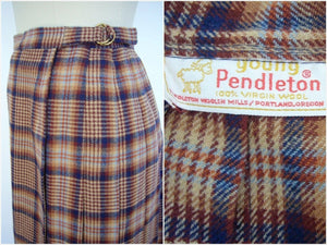 Vintage 1980s Young Pendleton Wool Blue Brown Plaid Tartan Wrap Skirt - ThisBlueBird
