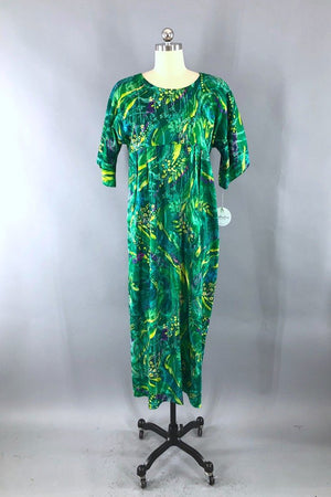 Vintage 60s Green Abstract Maxi Dress-ThisBlueBird - Modern Vintage