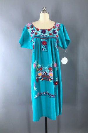 Vintage Aqua Blue Mexican Embroidered Caftan Dress-ThisBlueBird - Modern Vintage