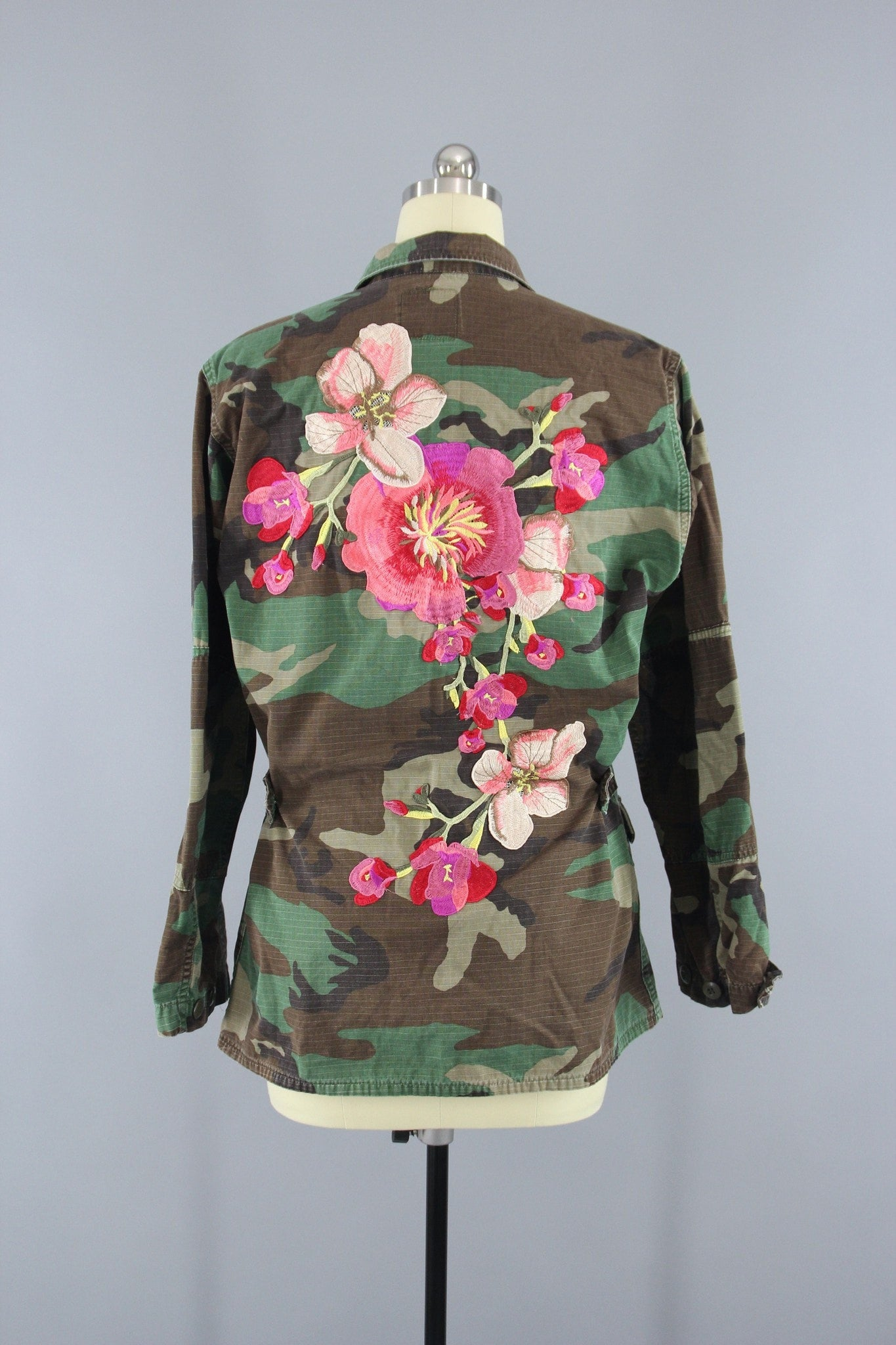 Vintage Army Camouflage Military Jacket with Large Peach Pink Floral Embroidery Outerwear ThisBlueBird