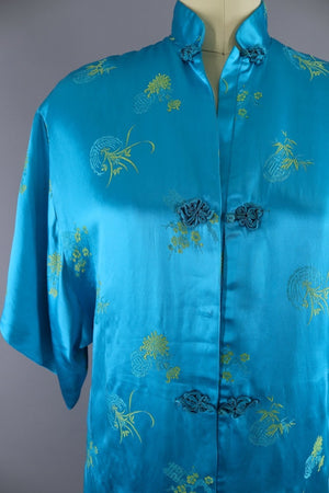 Vintage Asian Embroidered Robe / Aqua Blue & Yellow Satin - ThisBlueBird