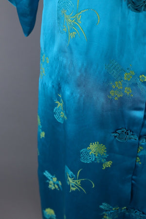 Vintage Asian Embroidered Robe / Aqua Blue & Yellow Satin Loungewear ThisBlueBird