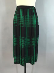 Vintage Black and Green Wool Plaid Skirt Bottoms ThisBlueBird - Sale