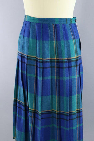 Vintage Blue and Green Tartan Plaid Kilt Midi Skirt-ThisBlueBird - Modern Vintage