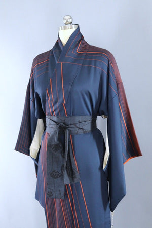Vintage Blue and Orange Stripes Kimono Robe-ThisBlueBird - Modern Vintage