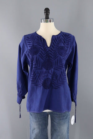 Vintage Blue Cotton Embroidered Tunic-ThisBlueBird - Modern Vintage