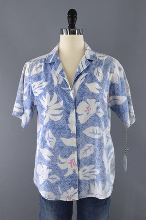 Vintage Blue Floral Hawaiian Shirt / Flying Colors-ThisBlueBird - Modern Vintage