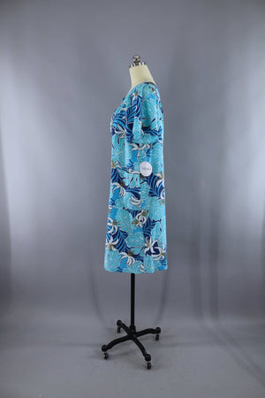 Vintage Blue Hawaiian Print Aloha Caftan Dress - ThisBlueBird