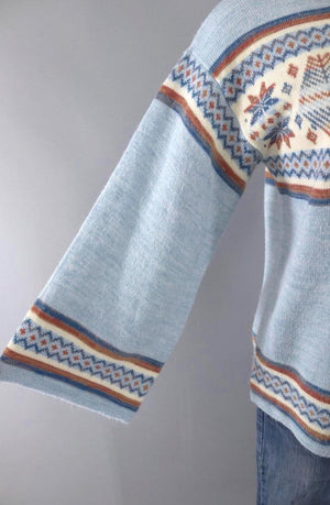 Vintage Blue Snowflake Sweater - ThisBlueBird