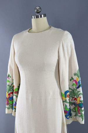Vintage Boho Appliqué Cotton Caftan Dress-ThisBlueBird - Modern Vintage