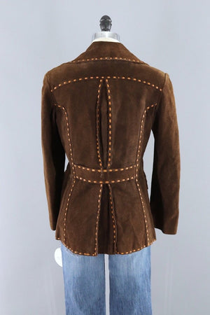 Vintage Brown Suede Jacket with Tan Leather Trim - ThisBlueBird
