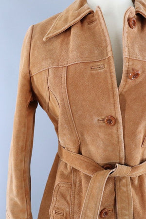 Vintage Caramel Tan Suede Belted Jacket - ThisBlueBird