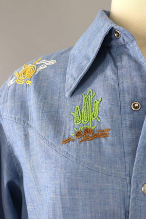 Vintage Chambray Western Shirt with Cowboy and Cactus Embroidery-ThisBlueBird - Modern Vintage