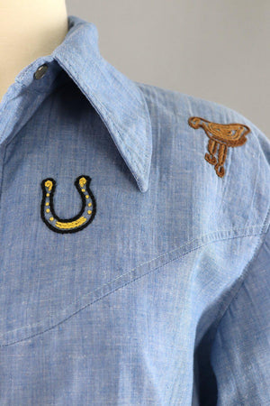 Vintage Chambray Western Shirt with Cowboy and Cactus Embroidery - ThisBlueBird