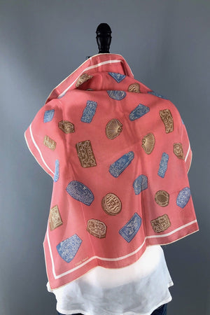Vintage Coral Pink Silk Scarf with Boxes Novelty Print-ThisBlueBird - Modern Vintage