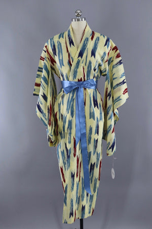 Vintage Cotton Kimono Yukata Robe / Yellow and Blue Arrows-ThisBlueBird - Modern Vintage