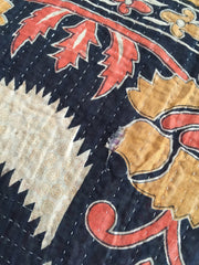 Vintage Cotton Sari Throw Blanket / Hand Stitched Kantha Embroidery / Orange & Black Floral Accessories ThisBlueBird